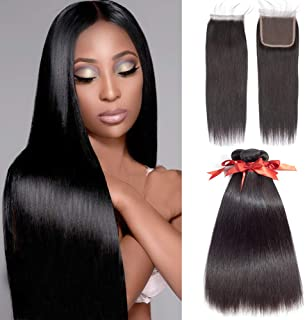 ALLRUN Straight Hair Bundles with Closure Free Part Lace Closure Human Hair Extensions Natural Black Color (18 20 22+16clo...