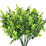 HUAESIN 4pcs Planta Artificial Eucalipto Verde Arbusto Plastico Decoracion Hoja Eucalipto Artificial Corto para Maceta Jarrones Mesa Fiesta Balcon Cocina Jardinera Boda Patio Terraza Cesta