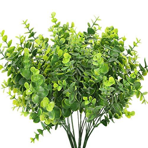 HUAESIN 4pcs Künstliche Eukalyptus Zweige Grün Kunstpflanzen Eukalyptus Blätter Plastikpflanzen für Hochzeit Party Garten Balkon Dekoration 35cm