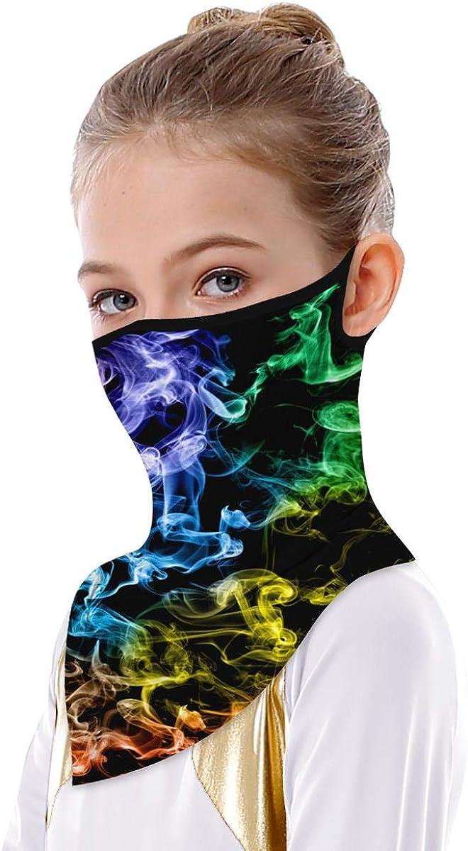 Kids Floral Leopard Print Bandana Ear Loops Galaxy Tie Dye Face Neck Gaiter Scarf UV Protection Sport Balaclava for Boy Girls