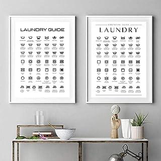FDONTR Instructions de Guide de blanchisserie Toile Art Affiche et Impression Soins de blanchisserie Mur Art Toile Peintur...