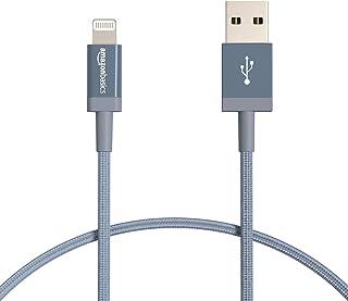Amazon Basics Lightning-naar-USB-A-kabel van gevlochten nylon, MFi-gecertificeerde iPhone-oplader - donkergrijs, 30,4 cm