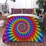 Mingdao Bedding Juego de Funda de Edredón -Espiral del Arco Iris en Colores Vibrantes Arco Iris Circular de ilusión óptica/Microfibra Funda de Nórdico (Cama 240 x 260 cm + Almohada 50X80 cm)