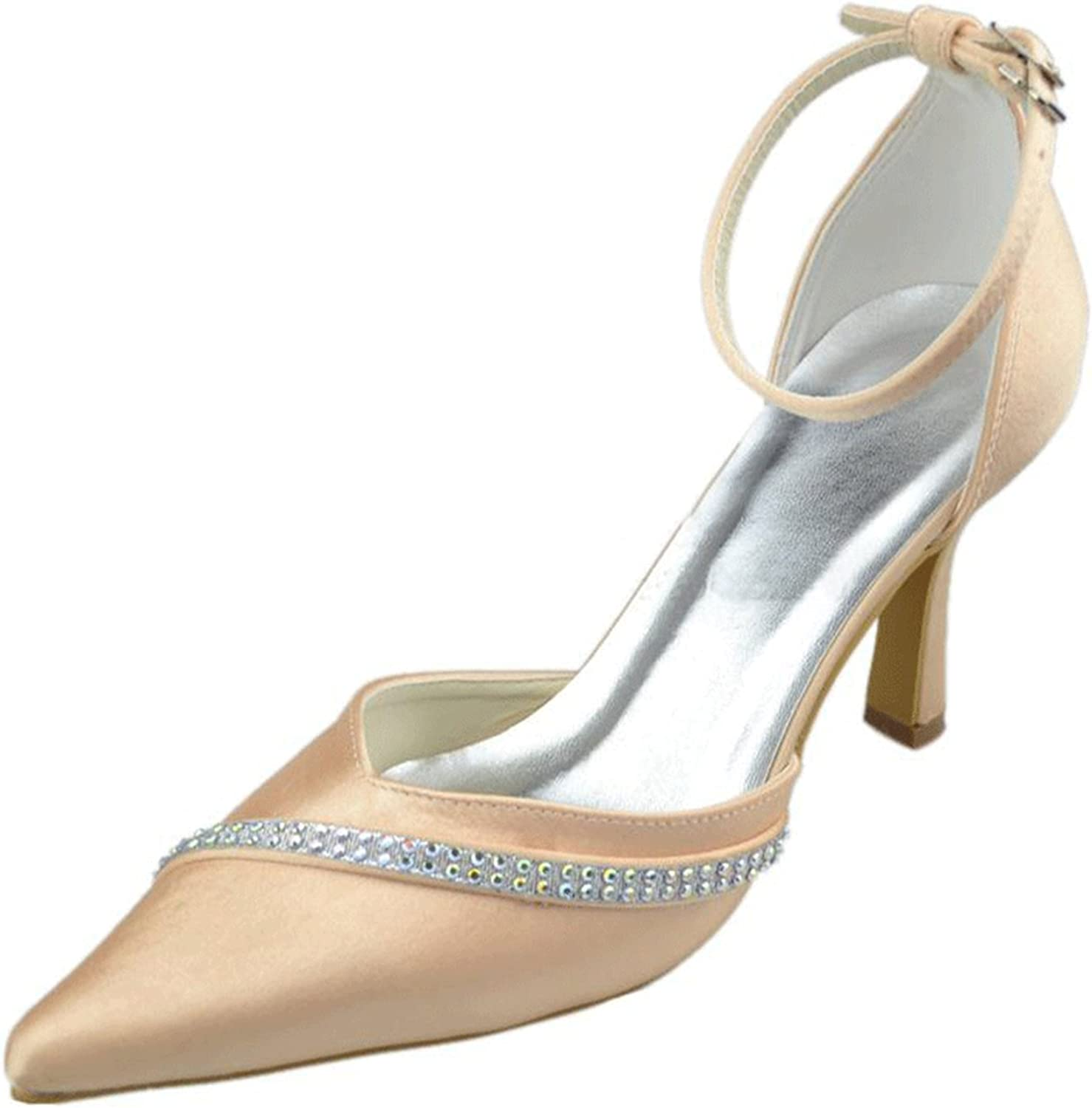 Mnishion Girls Womens Ankle Strap Crystals Bridal Wedding Party shoes