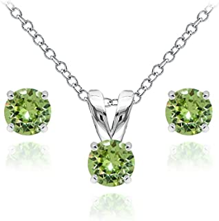 Sterling Silver Solitaire Necklace Stud Earrings Set Made Swarovski Crystals