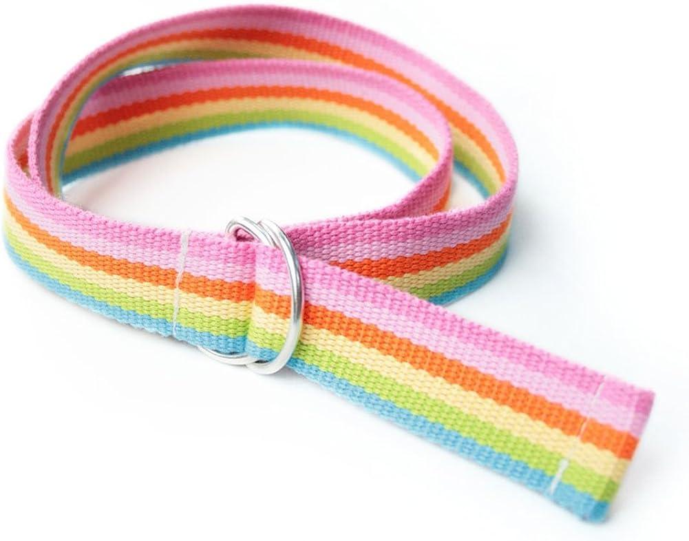 Gardening Spring Boy's Doblue D-rings Rainbow Stripes Belt 34