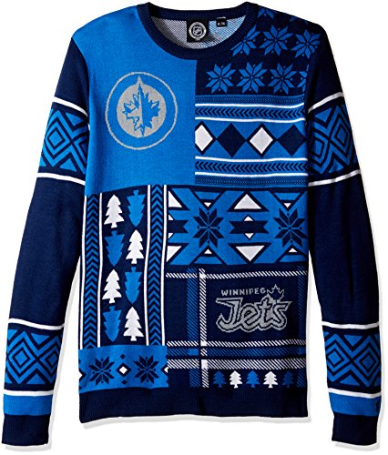 FOCO Winnipeg Jets Patches Ugly Crew Neck Sweater Medium