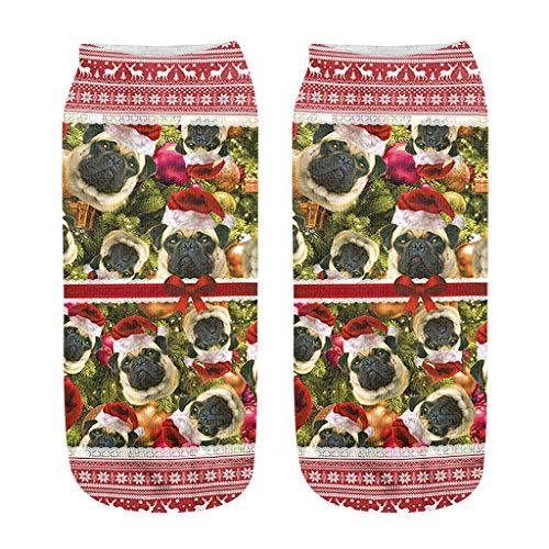 URIBAKY - Calcetines para hombre y mujer, estampados a la moda, 3D, diseño de Navidad, b, Talla única