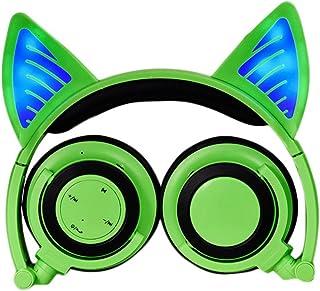 GZCRDZ Wireless Bluetooth Cosplay Fancy Cat Ear Headphones Foldable Over-Ear Earphone with LED Flash light for iPhone 7/iPad/Huawei/Xiaomi/Macbook (Green)