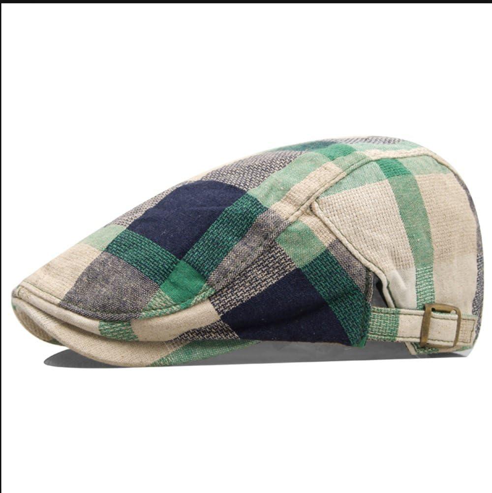 Color : Green Grid Boinas Sheng New Adult Neutral Mens Woman Tweed Sombrero de Estilo r/ústico Verde