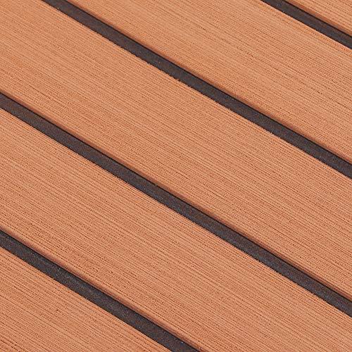 Däckark, självhäftande slitstark EVA-båtmatta, elastisk för yachtbåt Marinmatta Tillbehör för båtbåt(Light brown + black, white)