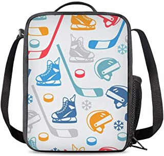 KiuLoam Ice Hockey Sport Kids Small Lunch Box Children's Insulated Lunch Bag with Zipper Shoulder Strap Cooler Lunch Tote ...