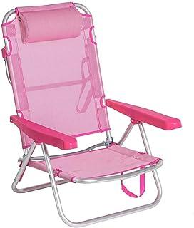 LOLAhome Silla de Playa 4 Posiciones con cojín de Aluminio (Rosa)
