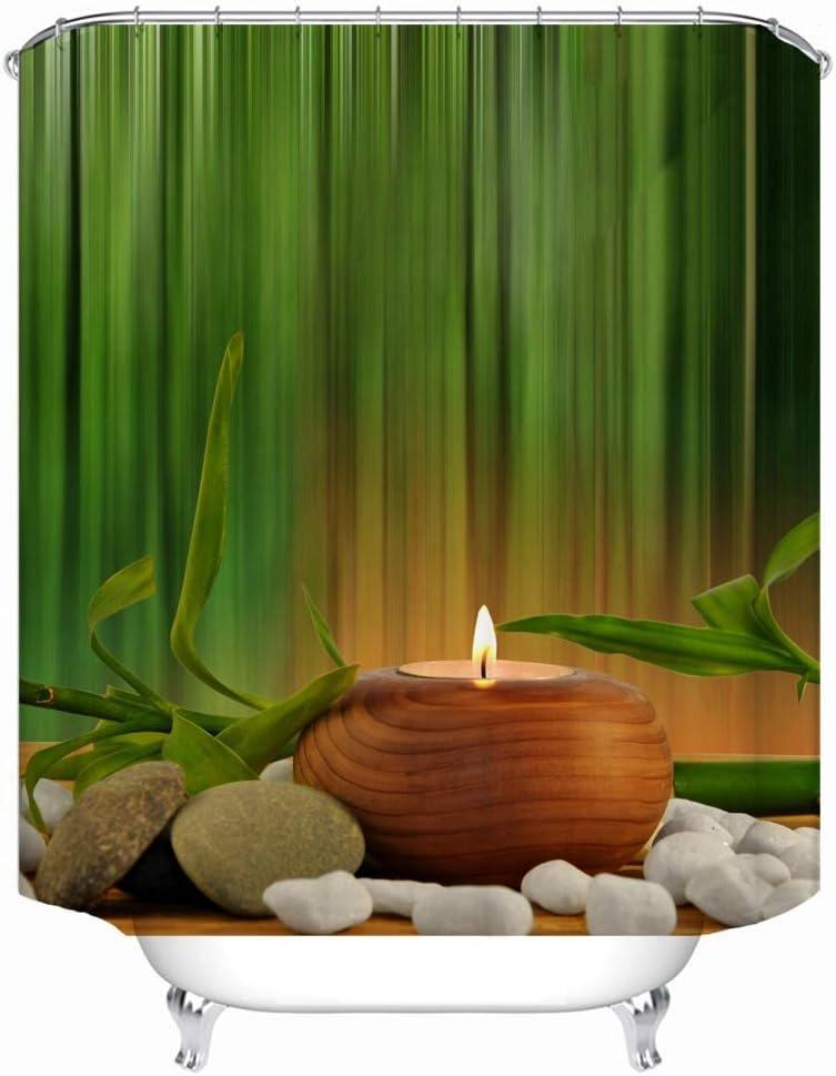 JunziWing Indian Spa Zen Buddha Water Yoga Tenda da Doccia Poliestere Impermeabile Massaggio Pietra Orchidea Tenda da Doccia per Bagno 1.8x1.8cm