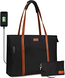 USB Laptop Tote Bag,Large Woman Work Bag Purse Teacher Bag Fits 15 Inch Laptop (nylon black)