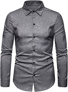 Fairy-Baby Gentleman Fashion Solid Color Design Men's Lapel Long Sleeve Polyester Shirt