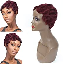Finger Wave Wigs for Black Women Short Curly Mommy Wig 100% Human Hair 150% Density Wine Red 99j Brazilian Human Hair Short Pixie Cut Fashion Style Wig by FASHION LADY