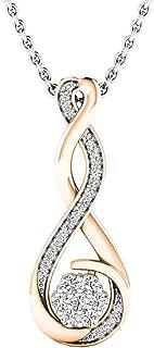 0.20 Carat (ctw) Round White Diamond Ladies Infinity Swirl Pendant 1/5 CT (Silver Chain Included)