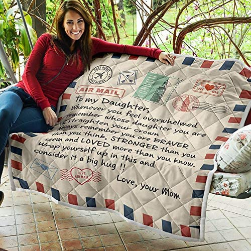 Mom for Daughters Air Mail Encourage /& Be Brave Quotes Flannel Blanket for Baby Girls Christmas Birthday Gift Black-130150cm Yuanhong Fleece Blanket- to My Daughter Letter Printed Quilts