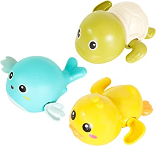 Bath Toys Bathtub Swimming Floating Wind-up Toys Turtle, Dolphin, Duck,Submarine Pool Water Toy for Children Kids Toddlers-3 Pack