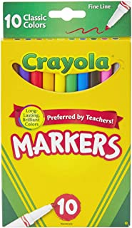 Crayola Original Marker Set, Fine Tip, Assorted Classic Colors, Set of 10
