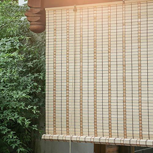 ERRU Cortina de Bambu Cortinas Enrollables Impermeables para Cubierta de Gazebo Al Aire Libre, Persianas Enrollables de PVC con Ganchos, 145cm/ 125cm/ 105cm/ 85cm Ancho (Size : 145×160cm/57×63in)