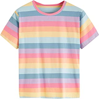 SheIn Women's Round Neck Short Sleeve Rainbow Striped Tee Top