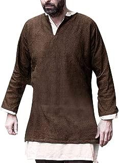 Men's T-Shirt Medieval Male Blouse Top Vintage Cotton-Linen Long-Sleeved T Shirt Men