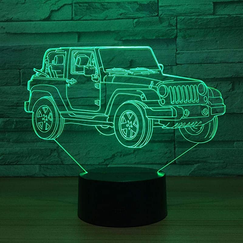 Yangww Night Light 3D LED Car Night Light Jeep Shape USB Bedroom Bedside 3D Table Lamp 7 Color Indoor Decor Atmosphere Lamp Birthday New Year Gift Home Decor