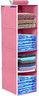 PrettyKrafts 4 Tiers Clothes Hanging Organizer, Wardrobe for Regular Garments, Shoes Storage Cupboard, Hanger Bag - Pink