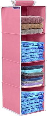 PrettyKrafts Hanging 4 Shelves Wardrobe Organiser - Pink