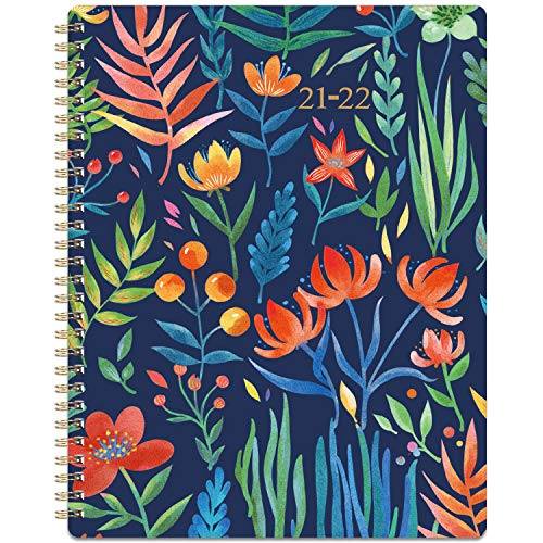 """2021-2022 Planner - Academic Planner 2021-2022 Weekly & Monthly with Marked Tabs, 8"""" x 10"""", July 2021 - June 2022, Hardcover with Back Pocket + Thick Paper + Banded, Twin-Wire Binding - Navy Floral"""