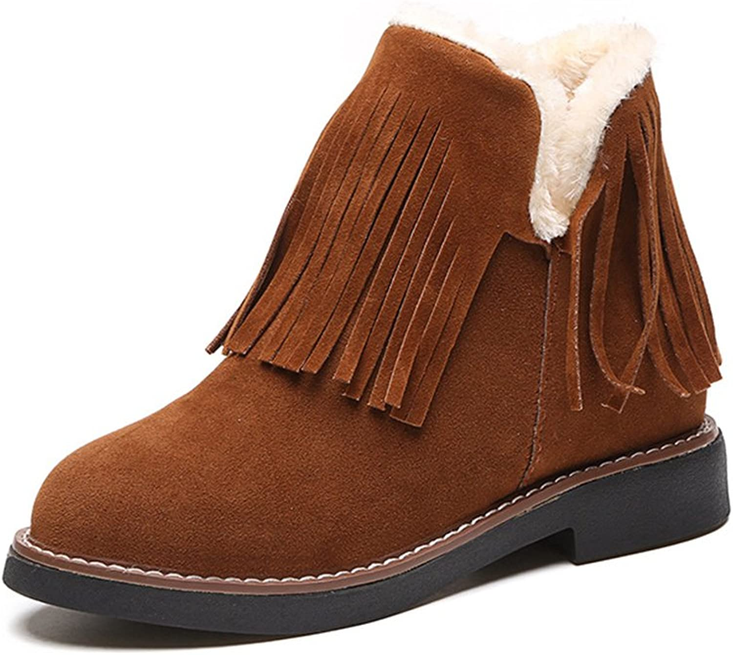 Kyle Walsh Pa Women Winter Tassels Increase Within Plus Velvet Flat Boots Brown
