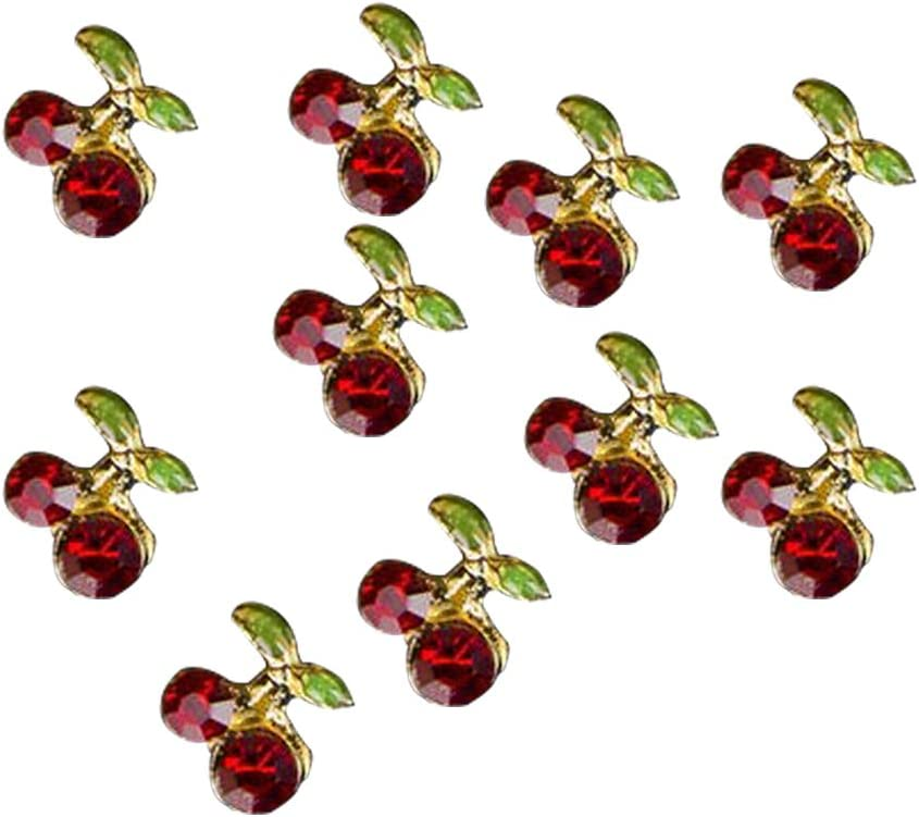 PULABO 10 Pcs Shiny Direct stock discount 3D Challenge the lowest price Cherry Gl Art Studs Nail Rhinestone Shape