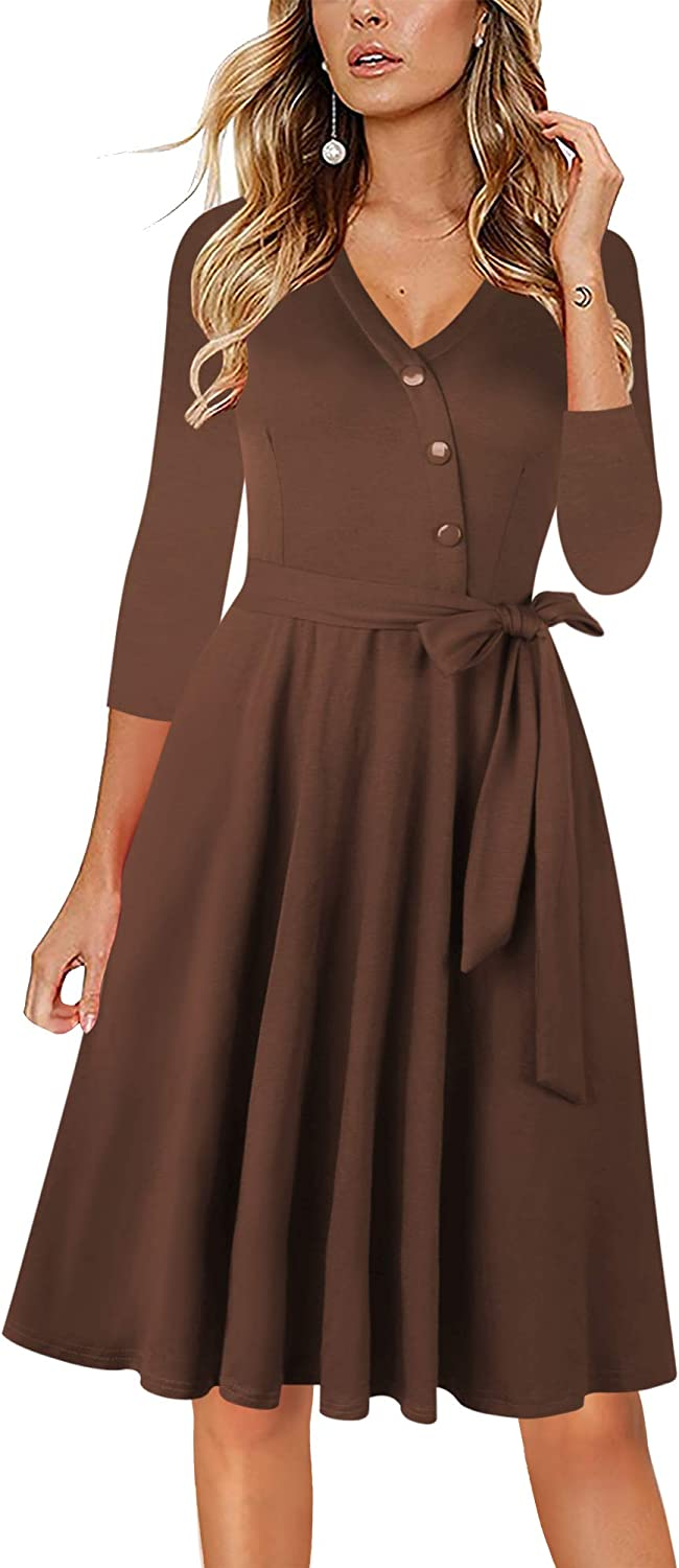 Sakaly Summer Dresses for Women Casual 3/4 Sleeve Button Down V Neck Belt Midi Dress with Pockets SW309