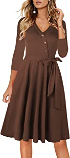 Fall Dresses for Women Casual 3/4 Sleeve Button Down V...