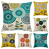 Faylapa 6 Pack Abstract Cartoon Flower Pillow Cases,Cotton Linen Decorative Cushion Cover,Living Room Sofa Car Decorations 18×18 Inches (45×45cm)(Case ONLY)