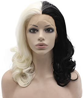 Mxangel Medium Long Wavy Two Tone Half Black White Lace Front Wig Cosplay