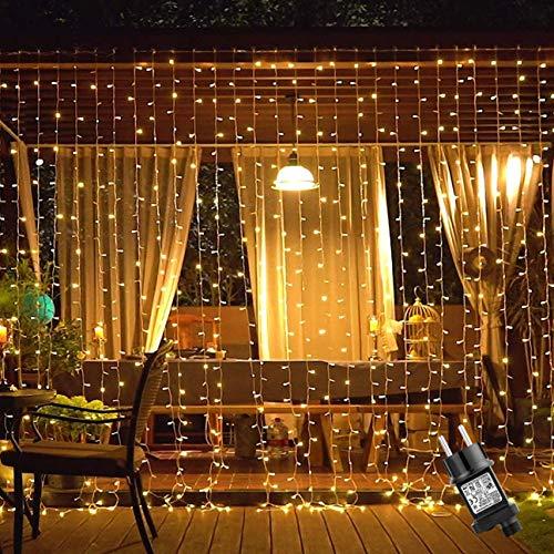Cortina Luces Navidad, Ulinek 300LED Luces de Cadena de Cortina 2x3m Impermeable 8 Modos Luces Navidad Decoración para Ventana Fiestas Habitacion Exterior Interior Arbol Patio Jardín