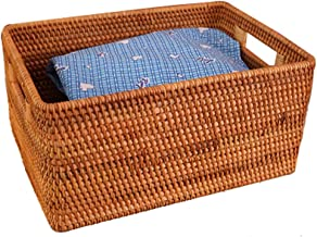 YAYADU Storage Basket Rattan Finishing Box Carry Handle Home School Hotel Store Books Magazine Sheets Clothes (Color : A, ...