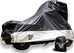 "XXL Motorcycle Cover for All Seasons| Outdoor & Storage Guard Bag| Heavy-Duty Protection Against Winter, Sun, Wind & Rain| Weatherproof, No-Scratch Lock Holes & Shield Liner| Universal Fit-116"" Big"