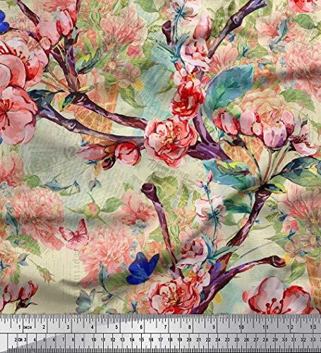 Soimoi Tela Japonesa De Satén Con Crepé De Japón, Estampados Florales De Melocotón Y Rosa De Yardas De 42 Pulgadas De Ancho