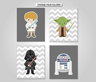 Scott397House Canvas Wall Art Prints Star Wars Yoda Luke Han Solo Darth Vader Princess Leia Star Wars Wall Decor Ready to Hang Printing Gift for Home Decoration, 4 Panels