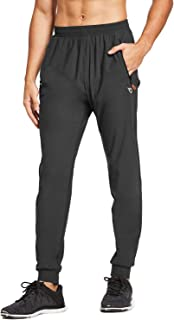 Men's Athletic Joggers Dry Fit Running Gym Pants Zipper Pockets Sports Pants