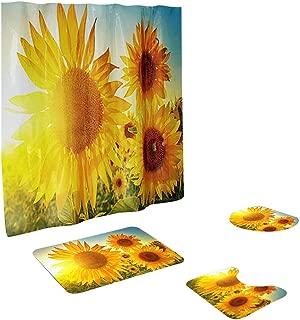 Toilet mats Set Fiaya 3Pcs /4PCS Floral Leaf Sunflower Multicolor Polyester Bathroom Set Rug Contour Mat+Toilet Lid Cover +Plan Solid Color Bath Mats +Shower Curtain (4PCS, Yellow Sunflower B02)