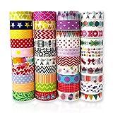 Feelava Washi Tape Set de 40 rollos de cinta adhesiva decorativa para manualidades, colección de papel de dibujos animados coloridos suministros de, álbumes de recortes, envoltura de regalos