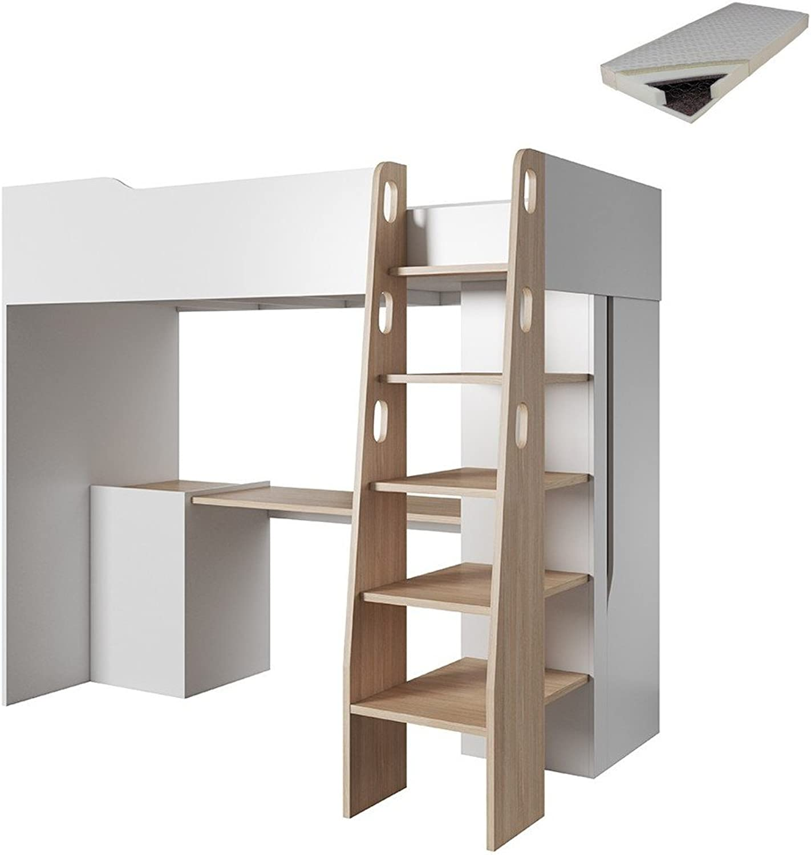 Etagenbett BUBU Hochbett Multifunktionsbett Bett mit Schreibtisch (Mit Federkernmatratze)