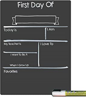 Cohas Design Your Own First Day of School Milestone Board with Reusable Chalkboard Style Surface and Liquid Chalk Marker, 9 by 12 Inches, White Marker