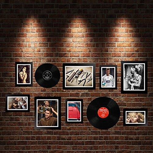 WJS Fotowand Foto Wand Dekoration Malerei Vintage Foto Wand Zusammensetzung Film Malerei LP Wandbild Kaffee Bar Wand Dekoration (Farbe : D)