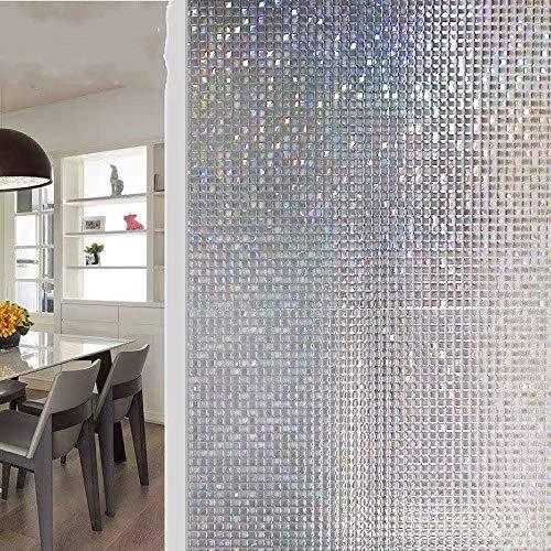 LMKJ Película para Ventanas de privacidad 3D Mosaico PVC adhesión electrostática teñido película Adhesiva de Vidrio de Vinilo Esmerilado en la Ventana película para el hogar B15 60x100cm